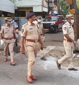 Policemen in Vijayawada Red Zone